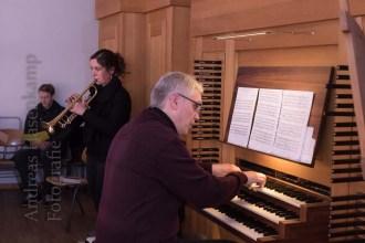 Unterstützung von Trompete und Orgel in St. Clemens. Foto: A. Hasenkamp, Fotograf in Münster.