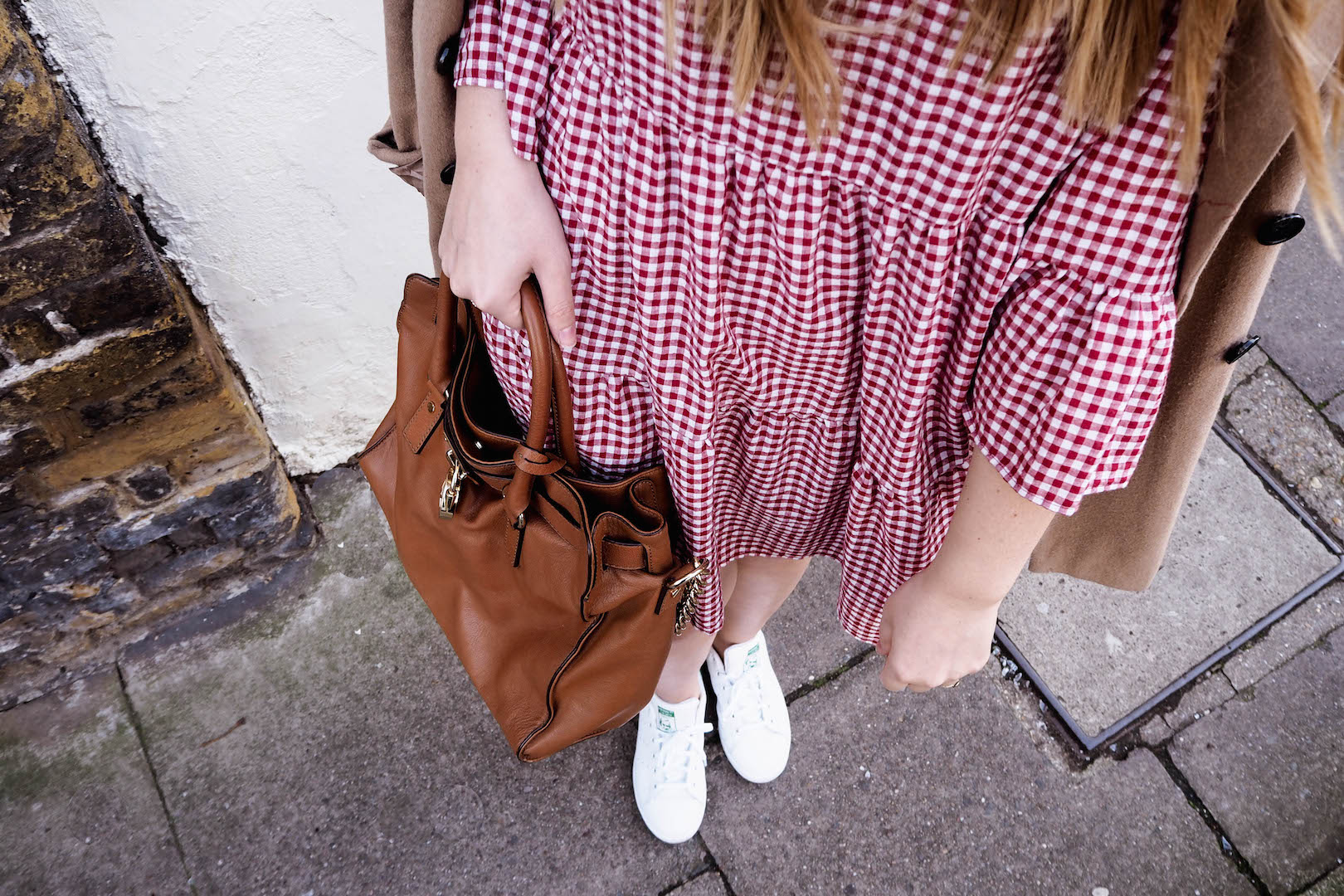 Zara gingham dress | Michael Kors satchel | Adidas white trainers | ASOS camel coat | Wolf & Stag