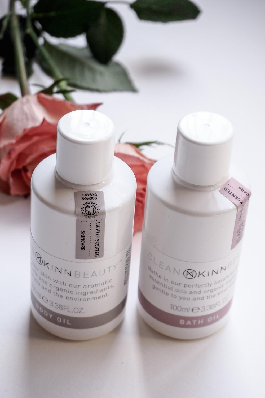 The KINN clean beauty range, including a body oil and a bath oil.
