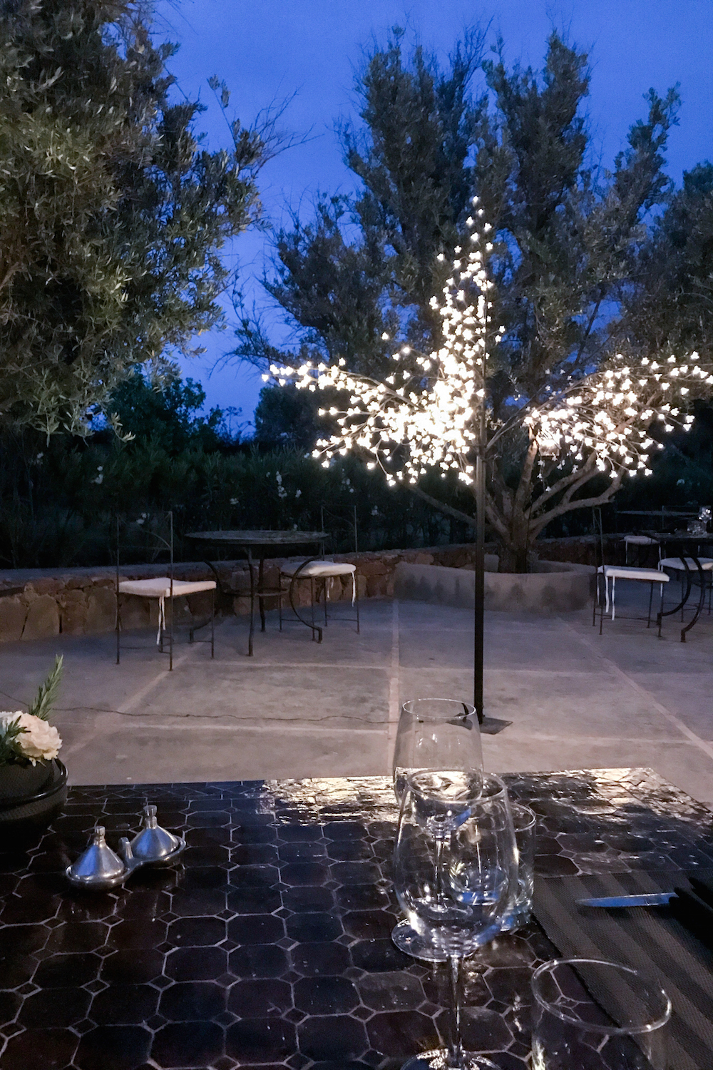 Fairy-lit trees at nighttime in the grounds of the Hotel Capaldi, Marrakech, Morocco