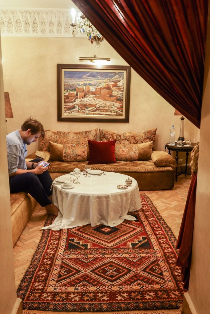 The lounge of a room at the Riad Kniza, Marrakech