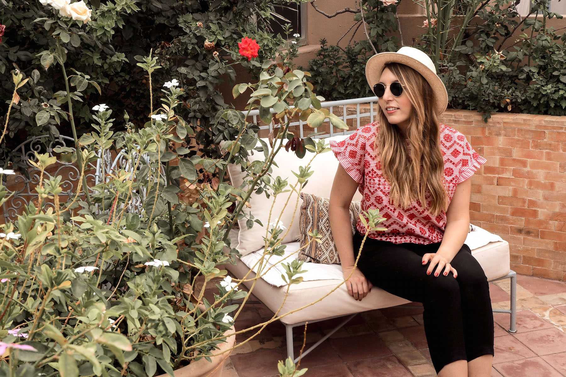 Zara red top, Hush black trousers, Gap hat, Ray-Ban sunglasses | Wolf & Stag's Travel Guide to Marrakech, Morocco