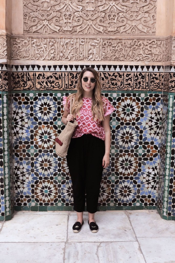 Zara red top, Hush black cotton trousers, Mango jute bag | | Wolf & Stag's Travel Guide to Marrakech, Morocco