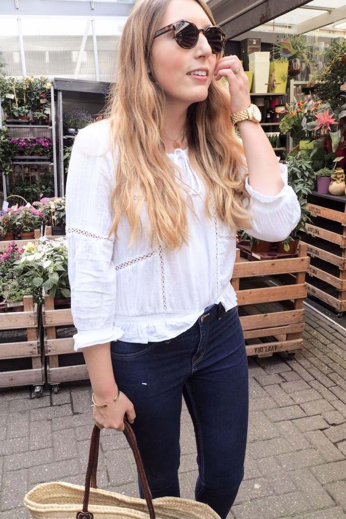 What I Wore in Amsterdam, Day 1: Massimo Dutti Leather Jacket, Urban Outfitters white blouse, H&M jeans, Soludos espadrilles, & Other Stories Sunglasses   Wolf & Stag