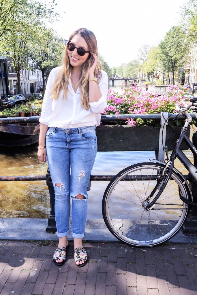 What I Wore in Amsterdam, Day 2: H&M cotton shirt, & Other Stories sunglasses, Warehouse boyfriend jeans, basket bag   Wolf & Stag