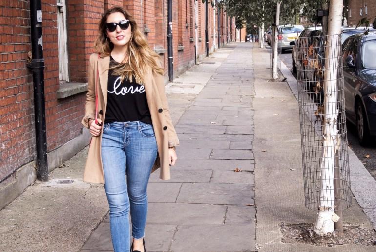 Autumn fashion: Hush love jumper, Lou & Grey jeans, ASOS camel coat, Dune loafers, Neubau Eyewear sunglasses, Aurora London bag | Wolf & Stag