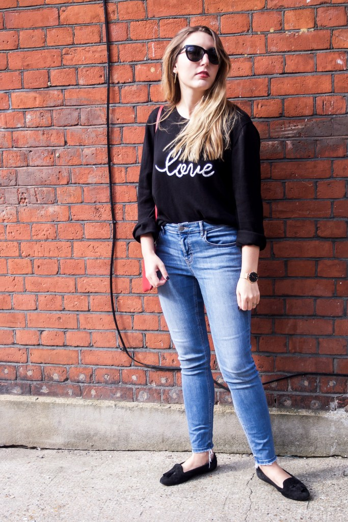 Autumn fashion: Hush love jumper, Lou & Grey jeans, Dune loafers, Neubau Eyewear sunglasses, Aurora London bag   Wolf & Stag