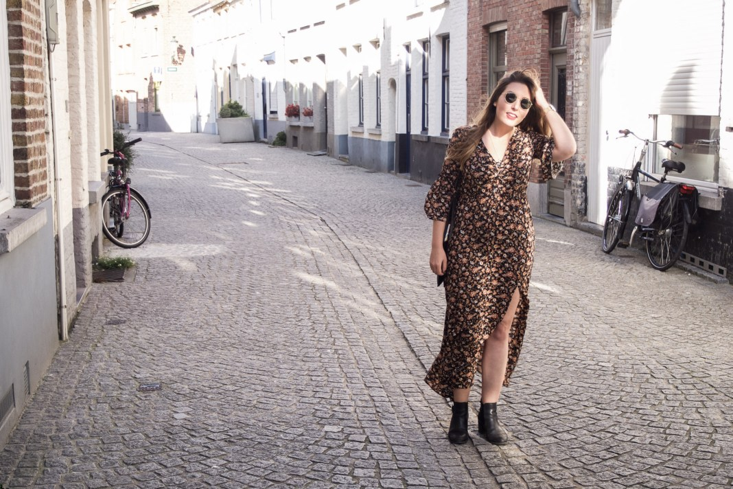 The best maxi dresses (and midi ones, too!) for Autumn | Zara floral midi dress, M&S chelsea boots, Ray-ban sunglasses, Elie Beaumont watch | Wolf & Stag