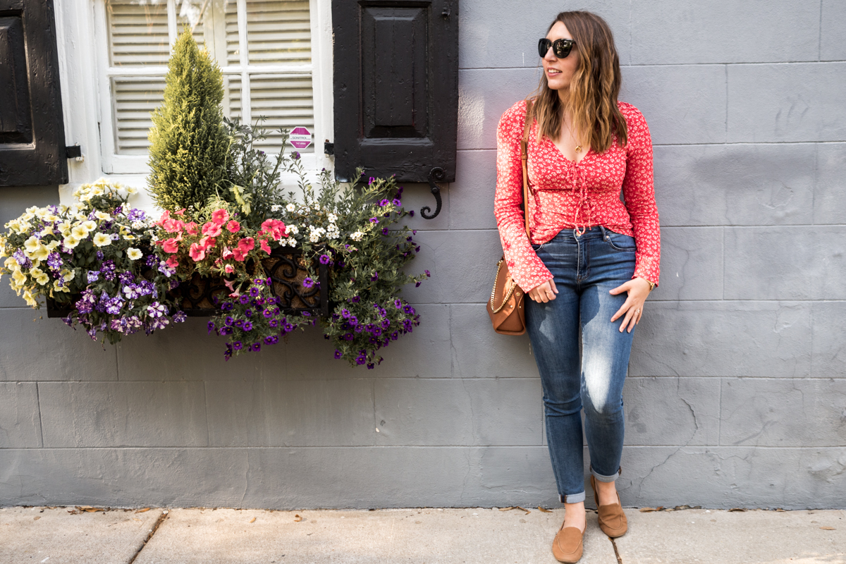 Bright Colors in Charleston | Featuring an H&M red top, Sancia Lilou camel bag, H&M jeans and Seychelles tan loafers | Wolf & Stag