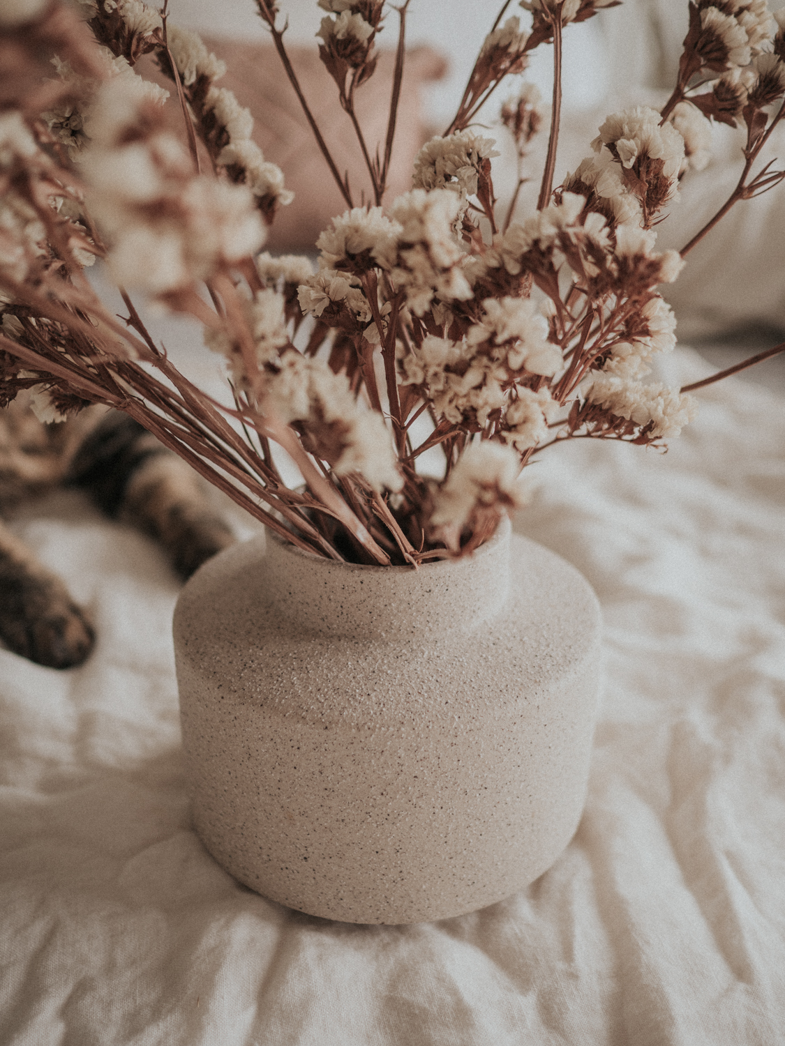 By Molle beige vase sits on a bed with Autumnal dried flowers
