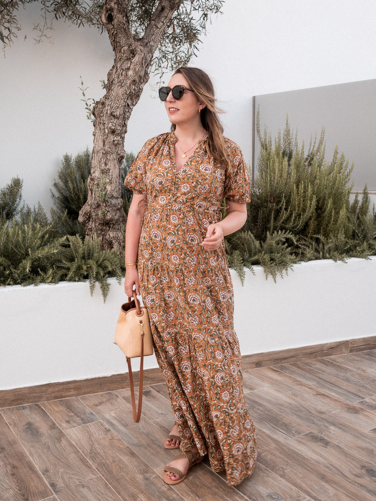 Packing for a babymoon in Greece, featuring Sezane dress, Elleme Baozi tote, and Missoma gold jewelry | W&S