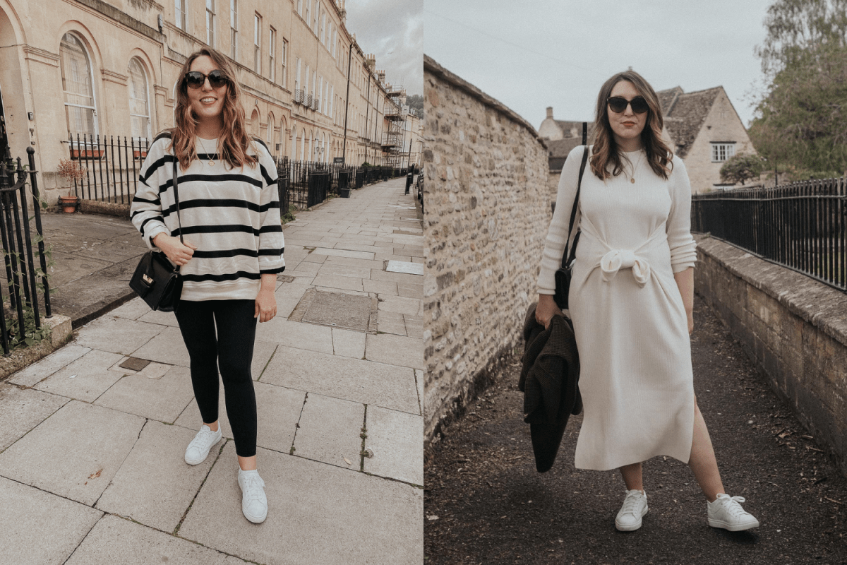 My Pregnancy Capsule Wardrobe feature   featuring two outfit combos that of non-maternity clothes that work perfectly during pregnancy   W&S