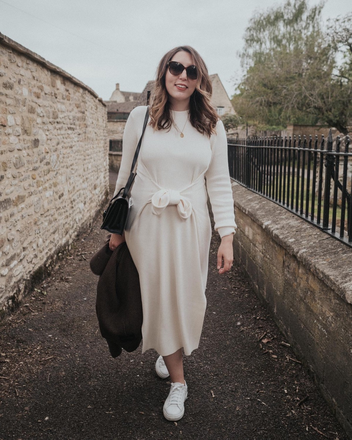 My Pregnancy Capsule Wardrobe, featuring a white ribbed knit maxi dress by & Other Stories, black crossbody bag, M Gemi white sneakers outfit   W&S
