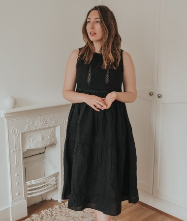 An honest review of Sezane | Zarri Embroidered Black Linen Midi Dress | W&S