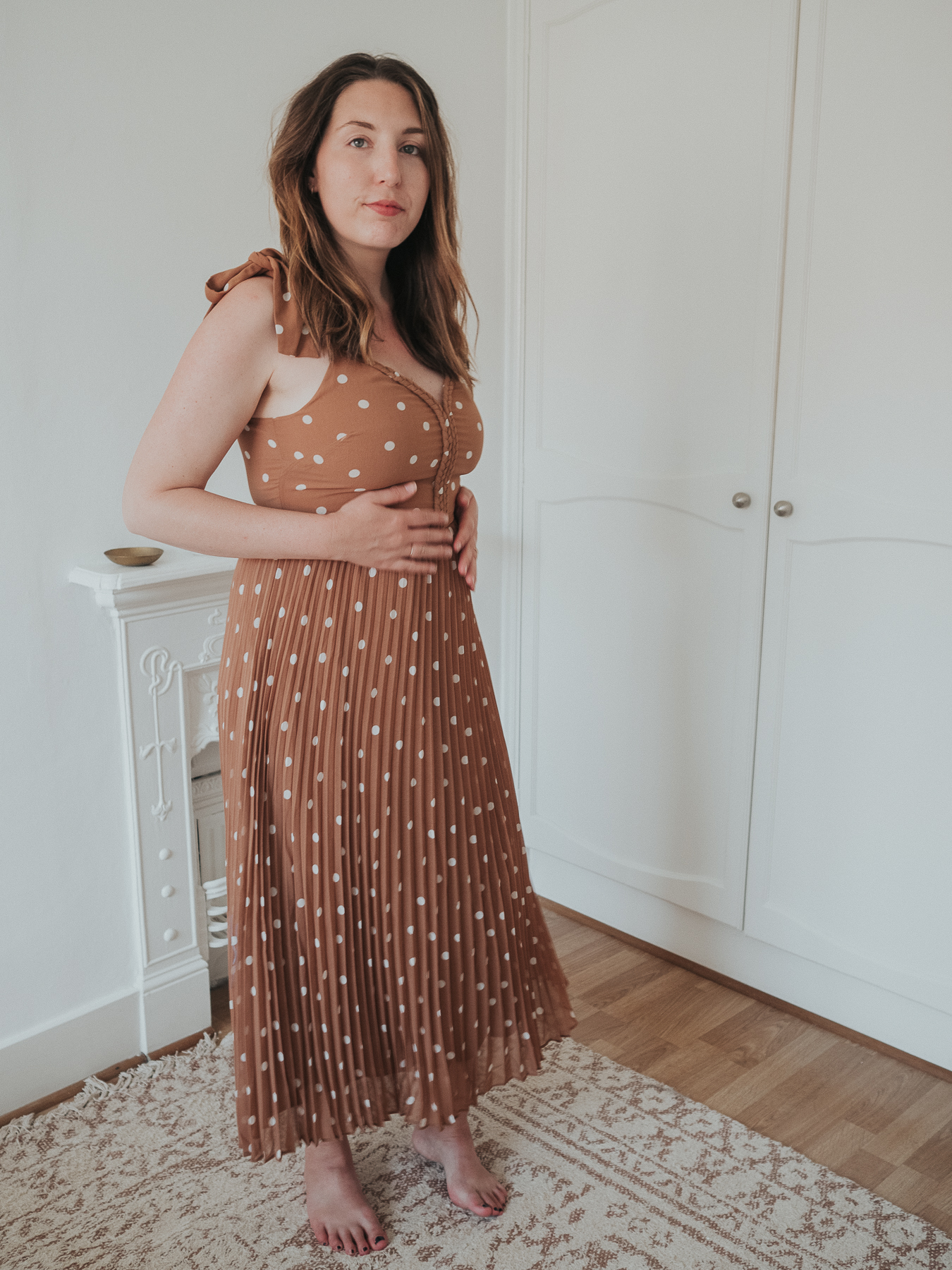 An honest review of Sezane | Nella midi dress in camel with white polka dots | W&S