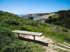 A bench near Bolinas beach