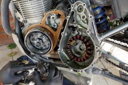 The stator cover removed, the new idle gear assembly is ready to be installed