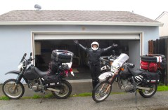 The last stop at our friend Cliff's garage with the fully loaded bikes