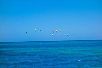 The start of the La Ventana Kite Foil Gold race. They get really close to each other!