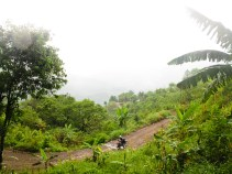 After a rainy night in Semuc Champey several mudslides blocked the road for cars, but not for our DRs