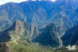 The town of Aguas Calientes on the Willkanuta river lies at the foot of the Machu Picchu peak.