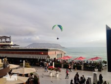 Paraglider enjoying updrafts above Lima's shores