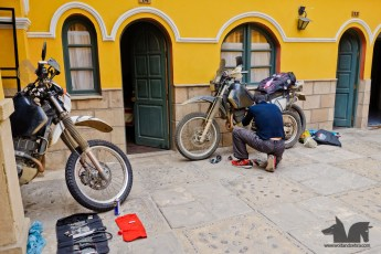 Bike maintenance at the hostel in Potosi