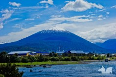 A picture perfect Volcano viewed from the Hornopieren ferry stop