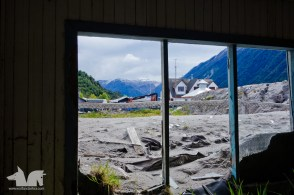 The view from inside a house that was buried in ash and mud in the 2008 activity of the Chaiten Volcano