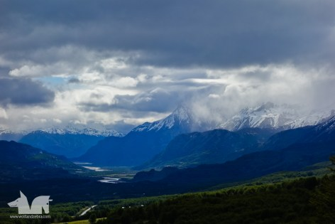 Dramatic lighting over the landscape on the road to Cochrane