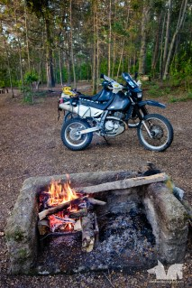 The Wolfmobile enjoying a well deserved rest by our campfire in Villa la Angostura