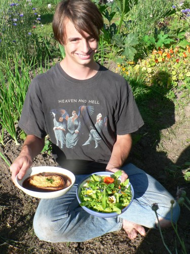 French Onion Soup and Salad by Wilderness Chef Charlie Borrowman