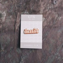 K2tog Club Enamel Pin Knit Pink