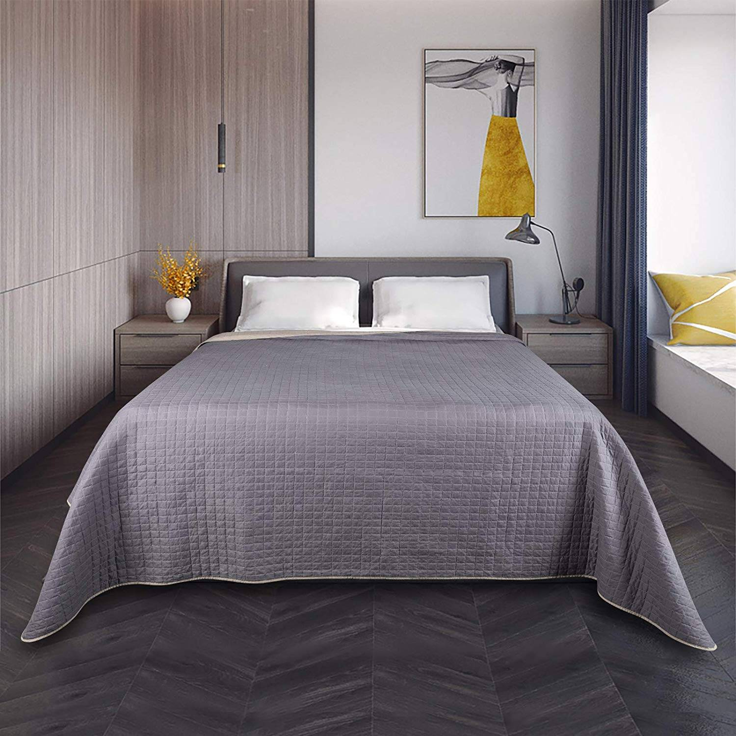 bedspread double bed lined and quilted taupe dark gray