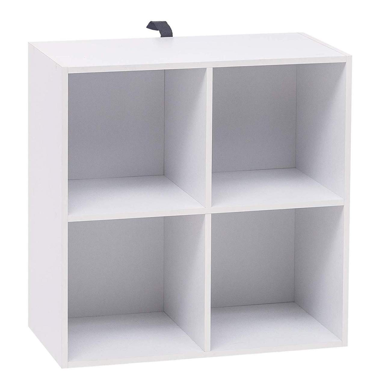 2 tier wooden bookcase 4 cubes white rack for office
