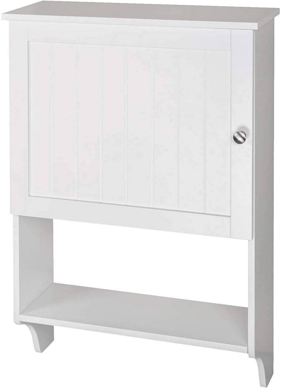 bathroom cabinet with towel rail and wooden shelves white