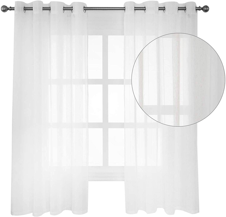 sheer voile curtains eyelet ring top wood grain stripe semi transparent curtain panels 2 panels