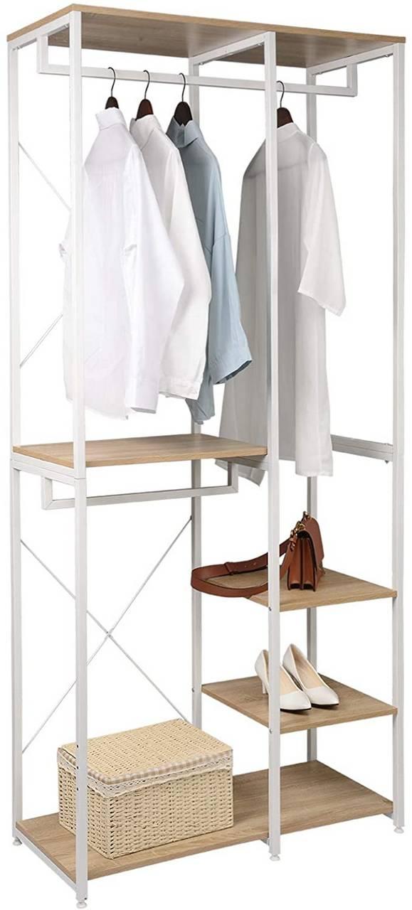large clothes rail adjustable garment rack 4 tiers shoe rack wood black