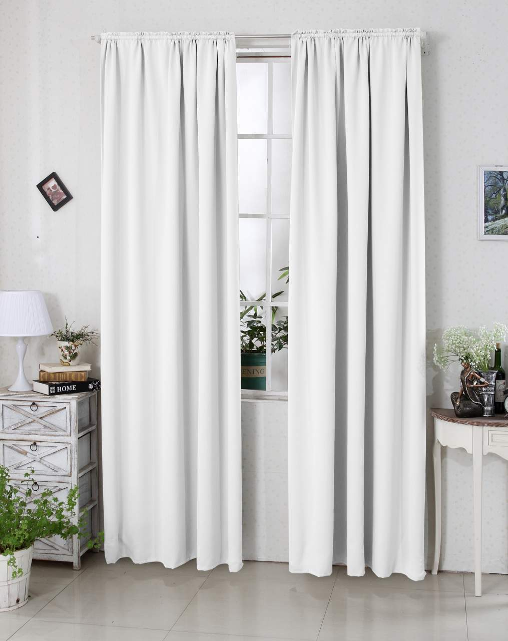 curtains pencil pleat blackout curtains thermal insulated tape top curtain panels for bedroom white 135x175 cm