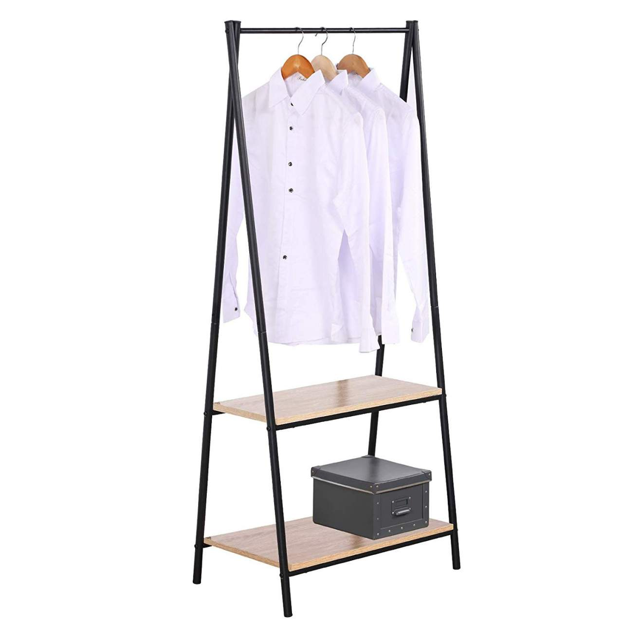 heavy duty clothes rail metal with 2 tiers wooden shoe rack storage shelves