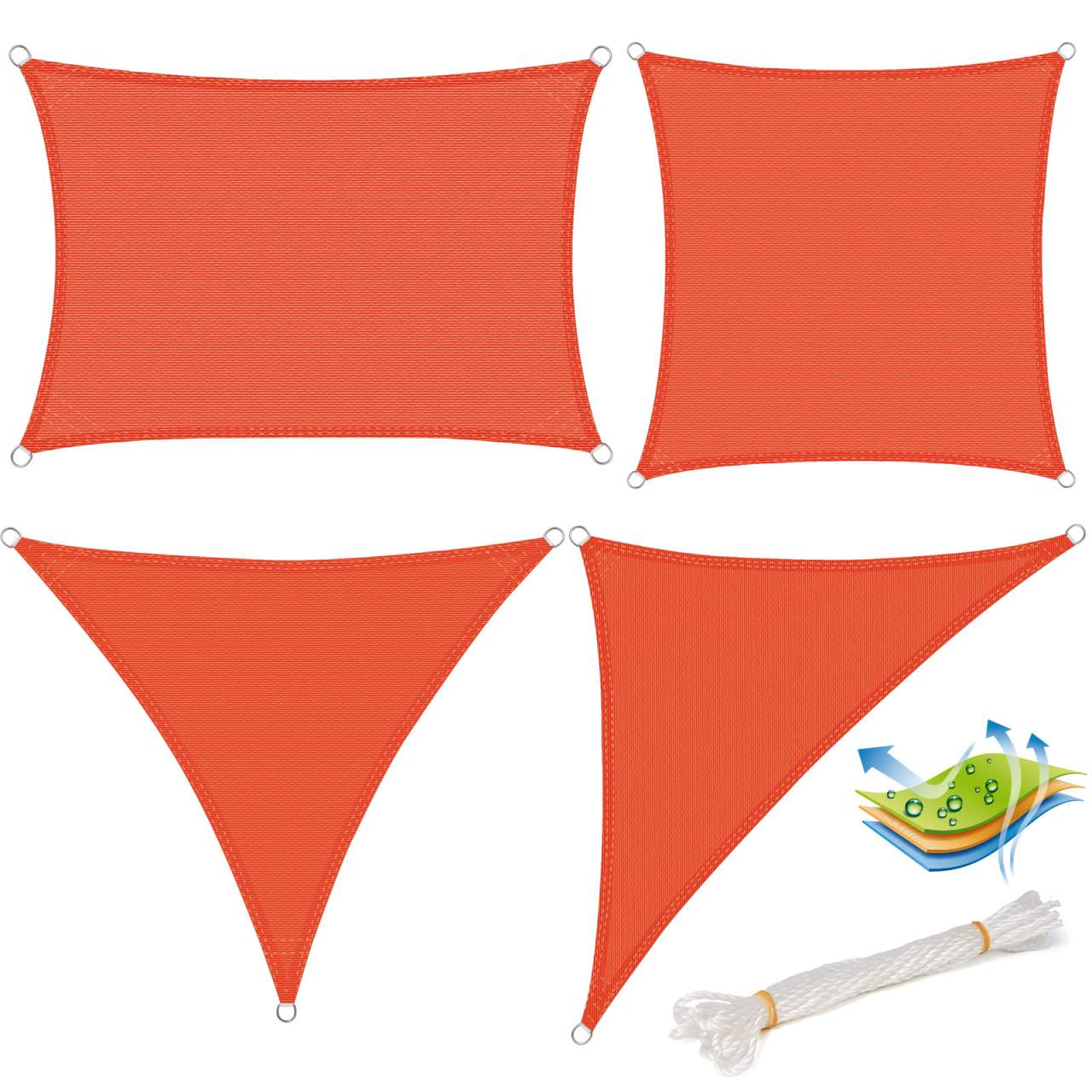 sun shade sail breathable hdpe sunscreen awning canopy for outdoor garden patio yard party uv block terracotta