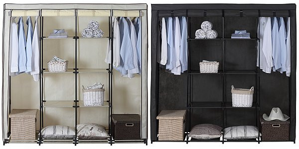 large canvas wardrobe fabric with hanging rail and doors grey