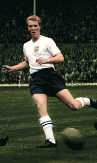 Colorised photo of Ron Flowers playing for England