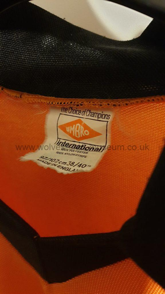 Wolves 1979-82 home shirt by Umbro - close up of label