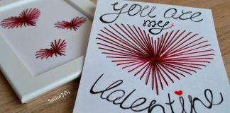 Открытка Валентинка с помощью иголки и нитки