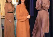 Меган Маркл, Крисси Тейген и Трэйси Эллис Росс в платье Preen by Thornton Bregazzi