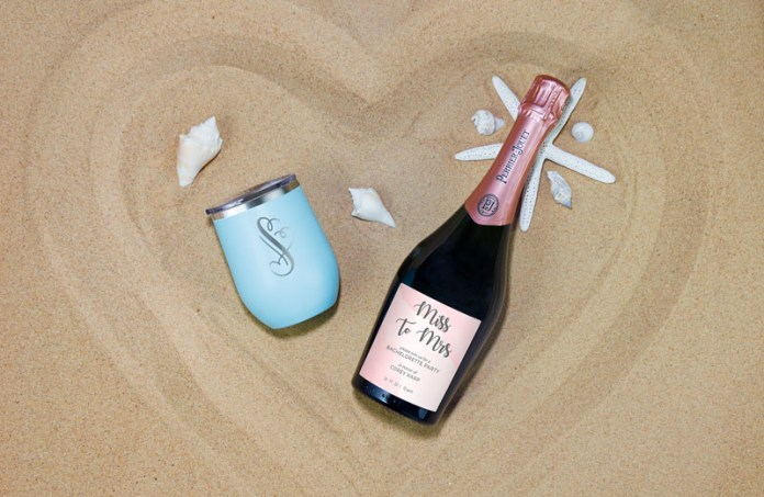 personalized champagne bottle and cup