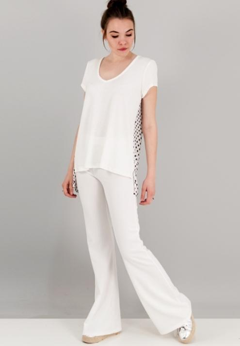 Γυναικείο παντελόνι καμπάνα λευκό