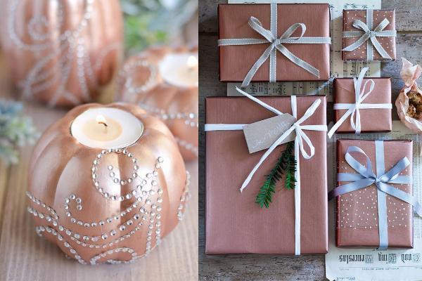 rosegold χριστουγεννιάτικα στολίδια