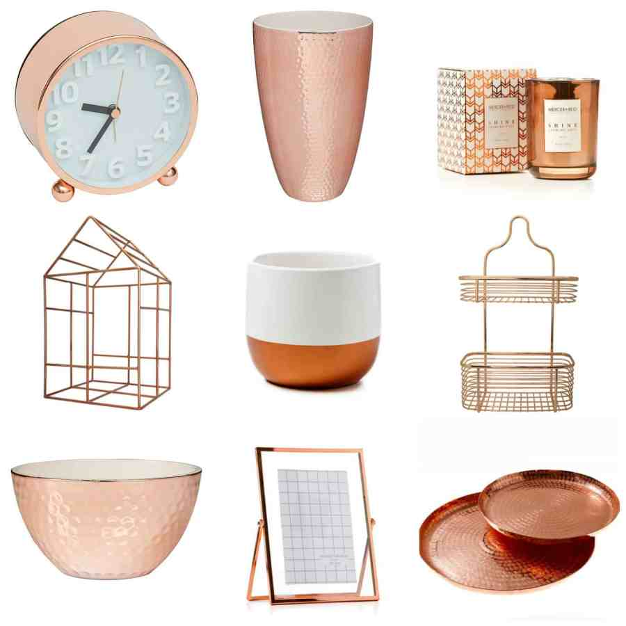 Copper homewares collage